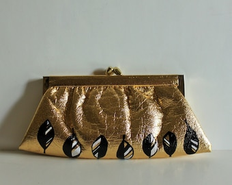 Brides Purse - Vintage Gold Clutch with handpainted leaves