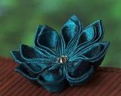 Teal flower brooch, blue silk pin, tsumami kanzashi, floral, botanical, Japanese, Asian, Oriental, wedding, UK, handmade