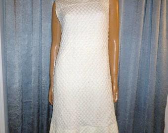 "Vintage 60's - Ivory - Popcorn Crochet - Embellished Yoke Neckline - Mod - A-Line - Shift - Dress  - bust:40 """