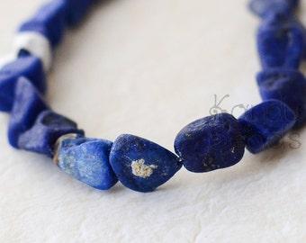 SALE India Lapis Lazuli Rough Nugget beads Bright Blue Medium Size 9-12 mm
