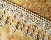 "Ivory VICTORIAN Dangle Lace Tassels for Handbags, Scrapbooking, Garters, Altered Art 2.25""w"