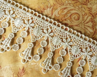 "Ivory VICTORIAN Dangle Lace Tassels for Handbags, Scrapbooking, Garters, Altered Art 2.25""w"