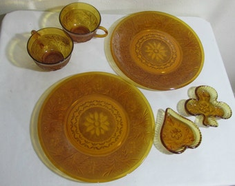 Amber Sandwich Glass Cups and Plates Plus Other Anchor Hocking Dessert Gold