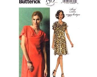 Dress Pattern Butterick 5883 Size 16 to 24 Draped Pullover Dress Shoulder Pleat Suzi Chin Maggy Boutique Womens Plus Sewing Pattern UNCUT