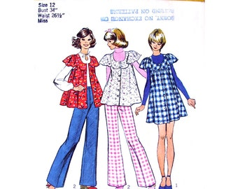 1970s Vintage Pattern Mini Smock Jumper Top & Pants Simplicity 5429 Bust 34 Scoop Neck Button Front Babydoll Dress Womens Sewing Pattern