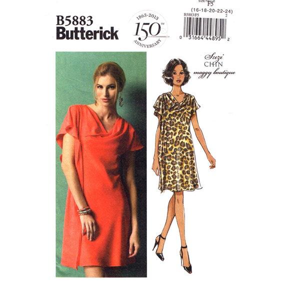 Draped Pullover Dress Pattern Butterick 5883 Suzi Chin Maggy Womens Plus Size 16 to 24
