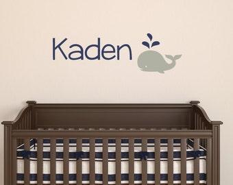 Whale Name Decal, Boy Nursery Decal, Baby Name Decal, Nautical Nursery, Whale Wall Decal