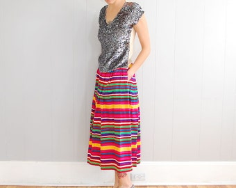 vintage KARL LAGERFELD high waist striped midi skirt XS-S
