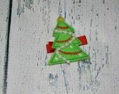 CLEARANCE Christmas Tree Felt Embroidered Hair Clip