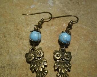 Turquoise Stone & Bronze Owl Charm Dangle Earrings