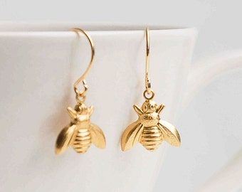Gold Bee Earrings,Bumblebee Earrings,Gold Bee Jewelry,Honeybee Earrings,Bee Earrings, Gold Bee,Brass Bee Earrings,Queen Bee,Bug Jewelry