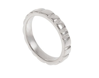 Soft Squares Mens Wedding Band- Made to Order in your size, material and dimensions