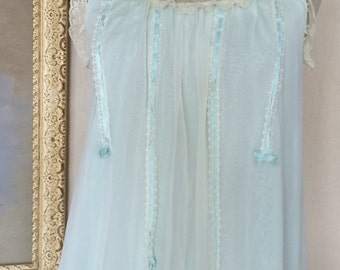 1960s Vintage Peignoir Set - Pale Blue Green and Ivory Chiffon- Sweet Short - Shortie Set - Up to 38 Bust - Small - 1960's Vintage Lingerie