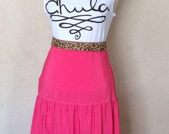 Vintage Pink Slip -  Hot Pink Slip with Three Tiers - Elastic Waist - Vintage Half Slip - Slip Skirt - Bubble Gum Pink - Waist from 26 to 32