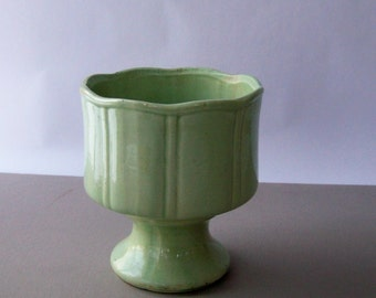 Vintage Mint Green Ceramic Pedestal Planter