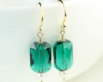 Emerald Swarovski Crystal with pearl dangle earrings, Gold Vermeil Hooks, Free shipping in Canada, Womans jewelry by art4ear, green drop
