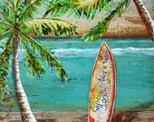 SURF art PRINT or CANVAS Surf's Up palm trees Surfboard Hawaii beach coastal ocean summer gift ocean wall home decor vacation, All Sizes