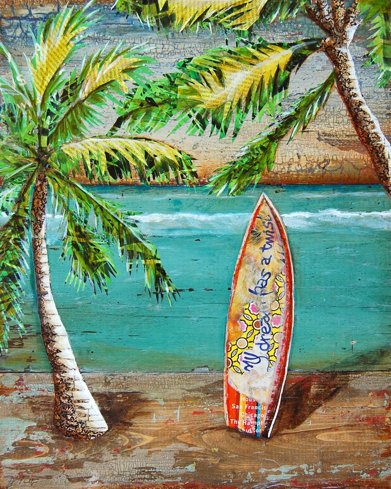 SURF Art PRINT Or CANVAS Surf's Up Palm Trees Surfboard
