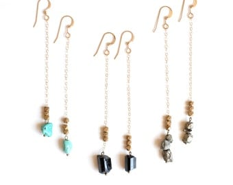 Drop Earrings in Pyrite Black Tourmaline or Turquoise