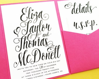 Wedding Invitations, Pocketfold Wedding Invitations, Pocket Fold Invitations, Pocket Invitations, Wedding Invites, Oh So Pretty Script Suite