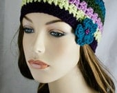 Girls Skull Cap Fitted Beanie Womens Crochet Hat Spring Beanie Striped Hat Multi-Color Winter Hat