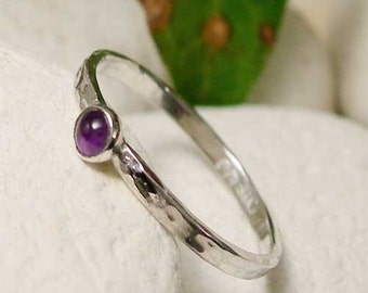 Amethyst Silver Stacking Ring, Sterling Silver & February Birthstone, Dainty Silver Ring, 6th Anniversary Gift,  Amethyst Gemstone Jewelry
