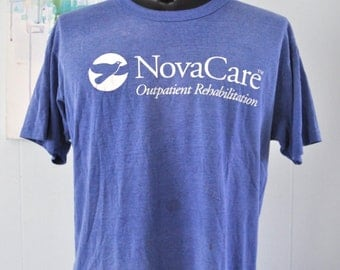 Vintage Burnout Tee Nova Care Soft n Thin Royal Blue Distressed Tshirt Tee LARGE