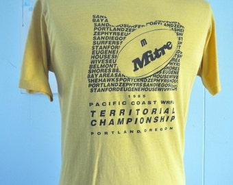 Soft Thin Vintage Tshirt 1985 Portland Oregon Football Tee Goldenrod Gold yellow sports LARGE