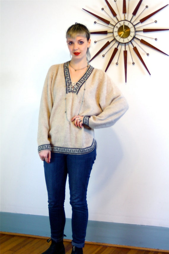 Peruvian Alpaca Sweater, Ethnic print sweater, Vintage 70s sweater, alpaca wool sweater, Hand Knit Sweater,Ethnic wool sweater,wool pullover