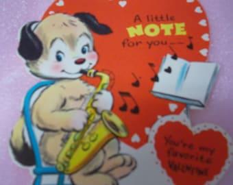 Vintage 1970's Dog Playing A Saxophone Novelty Valentine's Day Card