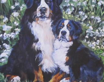 Bernese Mountain Dog art portrait CANVAS print of LA Shepard painting 8x8
