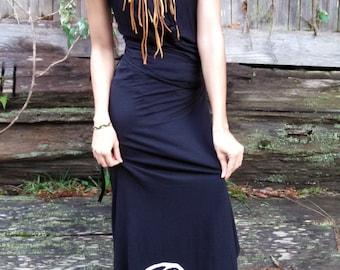 Organic Jersey Cotton Dress - Wrap Skirt & Halter - Call of the Bear. Summer Dress, Eco Dress, Women's Black Cotton Dress, Cowl Halter top