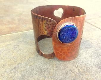 Bluesy Drusy wide copper cuff: SWEET SALE