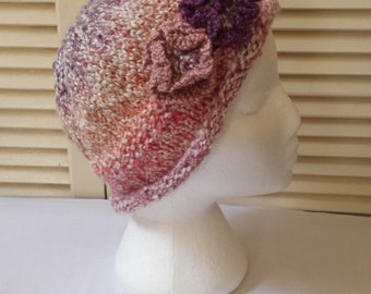 Hand Knitted Hat With Flowers / Womens / Pink, Purple, And Cream Knit Beanie/ Floral Cap/ Handmade Accessory