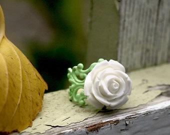 White Rose Ring - Spring Rose on a Mint Filigree Ring - Cocktail Ring - Adjustable Ring - Bohemian