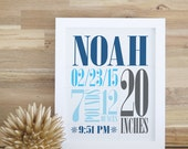 Birth Announcement Wall Art  Decor Baby Gift Personalized Baby Wall Art Birth Stats Print Navy Blue Nursery 8x10 16x20. Custom Birth Print