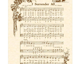 I SURRENDER ALL Antique Hymn Wall Art Print Vintage Verses Sheet Music Wall Art Christian Home & Office Decor Salvation Blessing Love Sale
