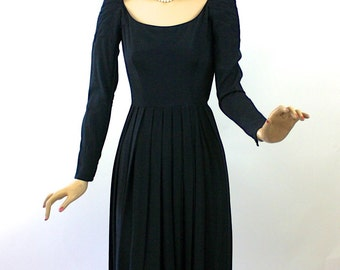 Vintage 50s Ceil Chapman Dress Black Rayon Faille Dinner Evening Dress Bust 34