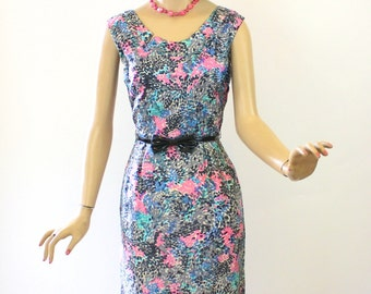Vintage 50s Dinner Dress Silk Sheath Black Pink Turquoise Print Wiggle Dress