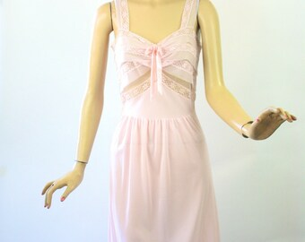 Vintage 50s Countess Lane Nightgown Sheer Pink Nylon & Chiffon Gown Size 34