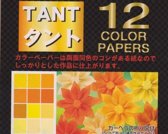Yellow and Orange Tant Origami Paper - Double-Sided - 48 Sheets - 15cm x 15cm