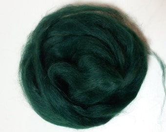 Roving, 100% Suri Alpaca Roving, Hand Dyed Emerald Green, Superfine Grade, Pin Drafted,  4oz listing