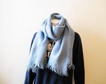 VTG Huge Mohair Wool Scarf Wrap Blue