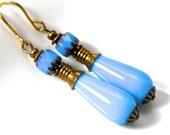 Turquoise Blue glass and brass teardrop earrings, Blue cathedral bead drops, turquoise blue earrings, light blue drop earrings