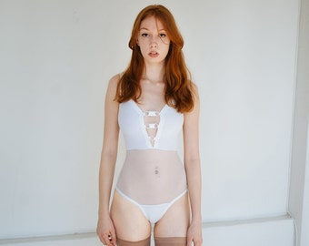 Frances Bodysuit, strappy- white - Kayleigh Peddie