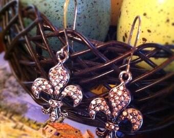 Rhinestone Fleur-De-Lis Earrings Dangle on Fancy French Wires by LauriJon™ Studio City