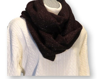 Marsala Sparkle Sweater Knit Cowl Scarf, Hood or Shawl;   Winter warmth,