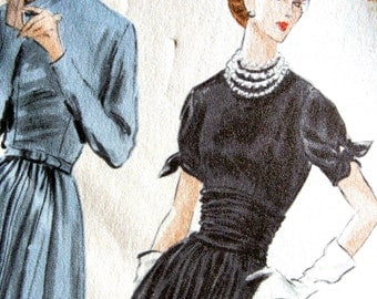 1950's Vogue Pattern 7746 - UNCUT * GLAMOROUS Evening Cocktail Party Dress w/Cummerbund - Size 16 Bust 34