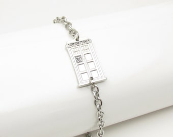 Tardis Bracelet, Doctor Who Fan Art Jewelry, Silver Tardis Police Box on a Stainless Steel Bacelet Chain E013