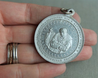 RARE Large Antique Spanish St Alphonsus Liguori Priest's Medal / Our Lady of Perpetual Help Religious Medal